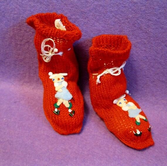 Tiny Vintage Slipper Socks for Dolls