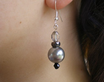 Silver and grey drop earrings (2011-0011)