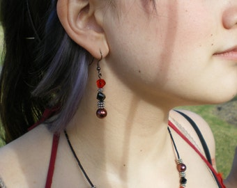 Red black & silver czech crystal necklace with matching earrings (2011-0010)