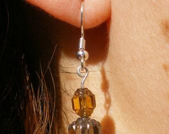Topaz and grey drop earrings (2011-0018)