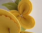 CUSTOM FOR ADDIEPIE08: Spring wreath, felt blossom and upcycled sweater, yellow on cream