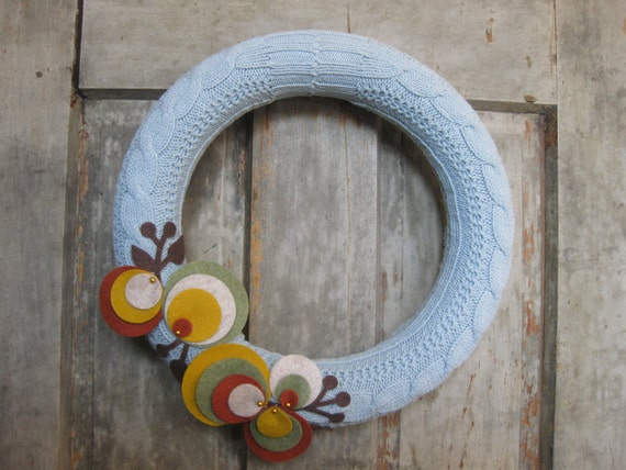 "12"" Felt blossom wreath, upcycled sweater, fall colors on sky blue"