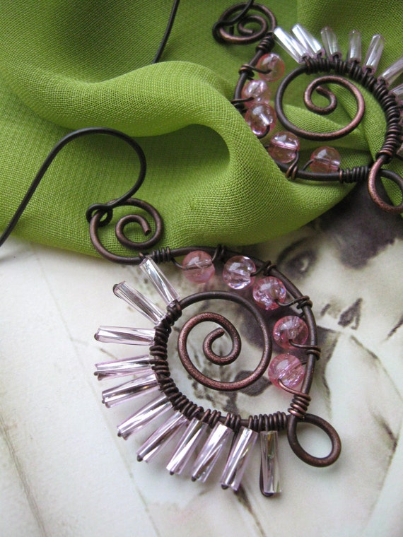 Wire Wrapped Porcupine Earrings - Made to order (hand forged, hammered, oxidized, pink, fashion, boho)