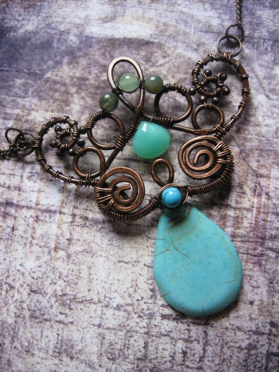 Free Shipping - Enchanted Forest - Woodland Fairy Necklace - Whimsical Wire Wrapped Jewelry- Artisan Solid Copper and Turquoise