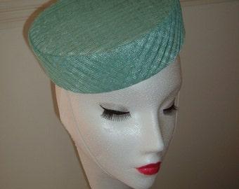 Aqua Latice Sinamay - Pillbox Hat