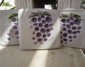 Three Purple Grape Tiles Home and Kitchen Decor Garden Art Mosaic Supplies