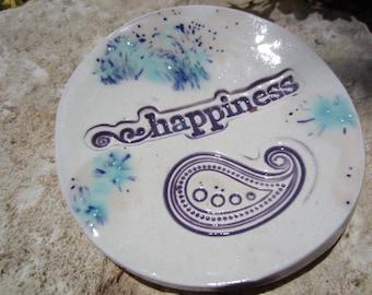 Happiness Ceramic Dish Holiday Stocking Stuffer Ring Holder Tea Lights