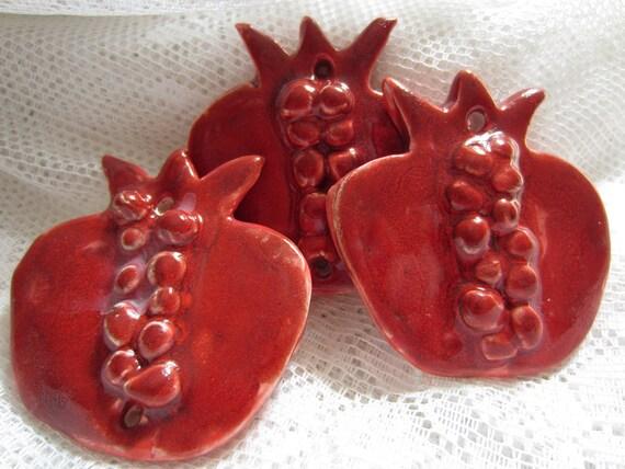 Three Red Pomegranates