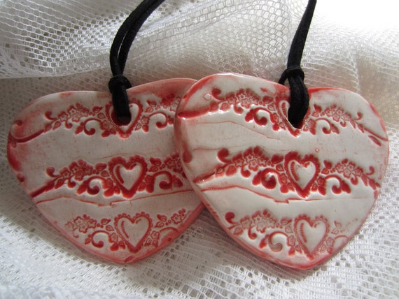 Two Red Heart Ornaments