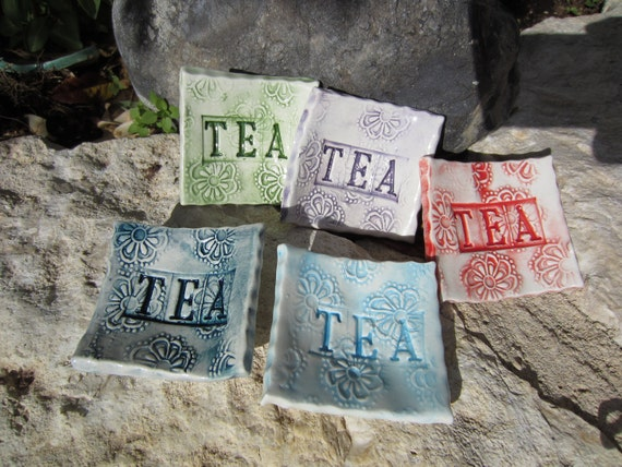 Five Ceramic Tea Bag Holders