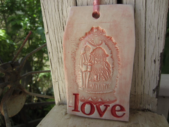 Christmas Ornament for the Bride and Groom Ceramic Tile