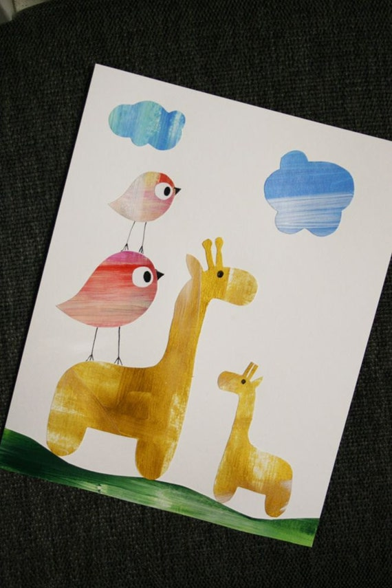Nursery art giraffe, baby nursery decor, kids art, nursery, kids decor, birds ORIGINAL