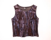 SALE 90s SQUARE SEQUIN Disco Ball Top