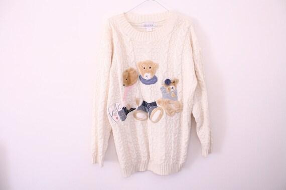 SALE 90s Novelty Teddy Bear Print Cable Knit Sweater Dress