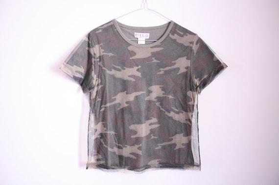 90s Sheer Mesh Overlay Camouflage Camo Crop Top