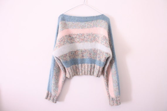 SALE Pastel Loose Knit Slouchy Cropped Mohair Sweater