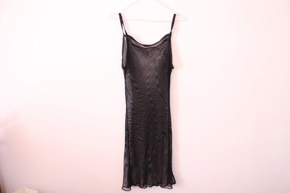 SALE 90s Fishnet Mesh Sheer Midi Dress