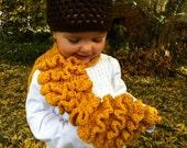 Children's Fashion- Mustard Colored Ruffled Scarf