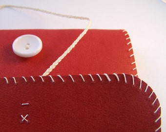 BARGAIN ITEM - Reduced To Clear  Cross Stitch Red Leather Journal
