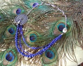 Blue and Pewter Peacock 3 strand Pendant necklace with lobster clasp