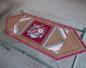Quilted Table Runner, Fall Colors, Floral, Brown and Burgundy
