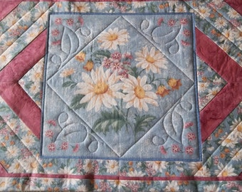 Spring Table Runner, Blue Floral Table Runner, Quilted Blue Table Runner With Daisies