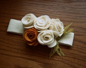 Petite Rose Felt Headband (Child) - Ivory and Mustard Flowers With Green Lace