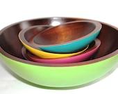 Spring Sale - Restyled Vintage Teak Baribocraft Salad Bowls