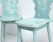 Distressed Cottage Style Wooden Chairs - Seafoam