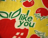 I LIKE YOU Vintage Hat in Vibrant Yellow Green Red with Apples and I Like You Wording