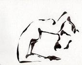 Original Fine Art  Ink Nude Drawing- Ink dark, Ink art, nacked, black and white, movement, modern, minimal, contemporany