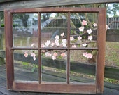 "Original Painting, Vintage Window--Cherry Blossoms, 24""x28.5"""