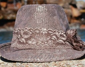 Cyber Monday Taupe Lace Fedora with Flower