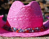 Hot Pink Cowgirl Hat with Colorful Beaded Accents