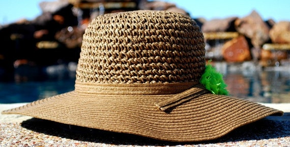 Brown Floppy Hat with Bright Green Rosette