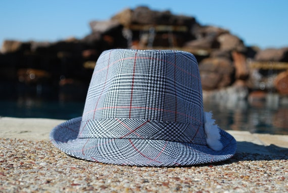 Tiny Houndstooth Fedora with Pure White Rosette