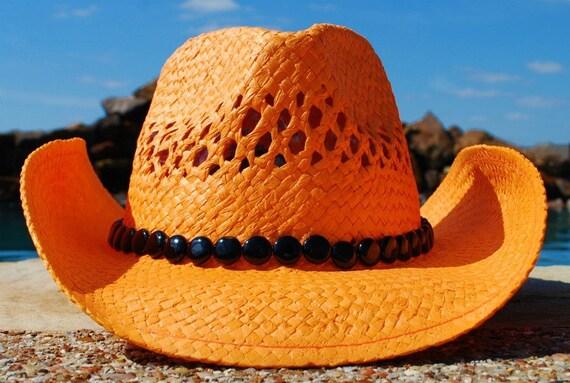 Orange & Black Cowgirl Hat