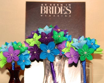 Paper Flower Bridal Bouquet and 2 origami Bridesmaid Bouquets