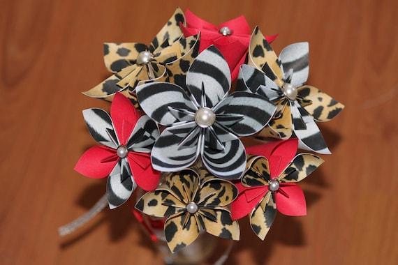 animal print origami paper flowers