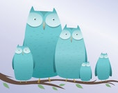 Blue Owl Family - 8 x10 Owl Art Print