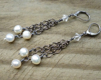 Natural Freshwater Pearl and Hematite Earrings