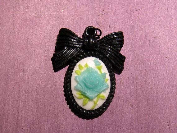 Blue Rose Cameo with Black Bow Pendant