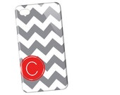 Chevron with Techron Personalized Monogrammed Case -  Gray n Red