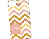 Chevron with Techron Personalized Monogrammed Case -  Dusty Rose n Mustard