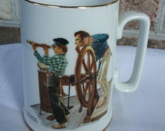 Vintage Norman Rockwell River Pilot Collectible Mug 1985 gold rimmed