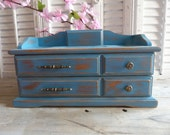 Upcycled Blue Wooden Vintage Jewerly Box Wooden Box Distressed Jewelry Holder Storage Box