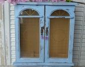 Shabby Chic Ocean Blue Tall Jewelry Box Distressed wooden Jewelry Holder Organizer