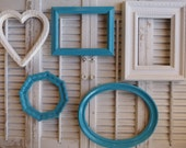Set of 5 Grouping of Shabby  Cottage Apartment Frames Turquoise White wall decor hanging