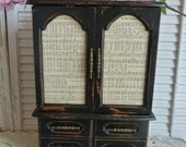 Vintage Upcycled Large Black Wooden Farmhouse style Tall Jewelry Box Rustic Jewelry Box