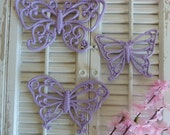 Reserved For Lisa  Upcycled Vintage HOMCO Soft Pastel Purple Butterflies Set of 3 Teen Girls Room  Baby Nursery Wall hanging Decor